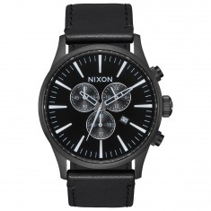 Nixon Sentry Chrono Leather Watch - All Black/White