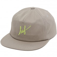Huf Script Snapback Hat - Natural Grey