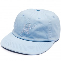 Huf Script Slight Curve 6 Panel Hat - Light Blue