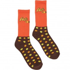 Huf Pieces Of Shit Crew Socks - Orange/Brown
