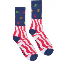 Huf Legalize Freedom Crew Socks - Navy/Purple/Yellow