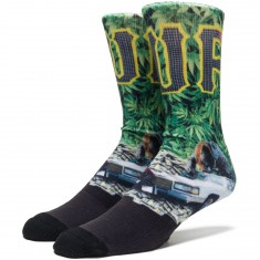Huf Big Cats Crew Socks - Green