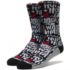 Huf Fuck It Comic Crew Socks - Black