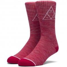 Huf Triple Triangle Melange Crew Socks - Red