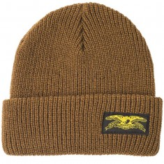 Anti-Hero Basic Eagle Label Cuff Beanie - Med Brown/Yellow