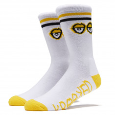 Krooked Big Eyes Socks - White/Yellow/Black