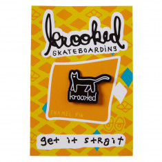 Krooked Black Kat Pin - Black/White