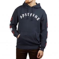 Spitfire Old E Combo Sleeve Hoodie - Slate Blue/Red/White