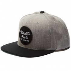 Brixton Wheeler Snapback Hat - Light Heather Grey/Black