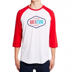 Brixton Oakland 3/4 Sleeve Shirt - White/Red