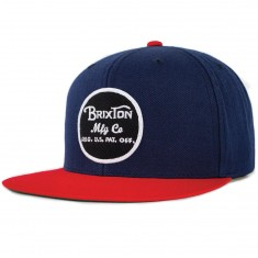 Brixton Wheeler Snapback Hat - Navy/Red