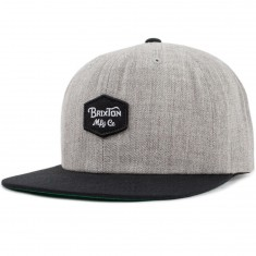 Brixton Trig Snapback Hat - Light Heather Grey/Black