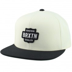 Brixton Garth Snapback Hat - Off White/Black