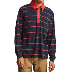 Brixton Belgrade Long Sleeve Polo Shirt - Navy/Red