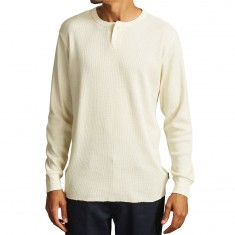 Brixton Berkshire Long Sleeve Henley Shirt - Off White