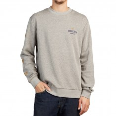 Brixton Peabody Crew Fleece Sweatshirt - Heather Grey/Navy