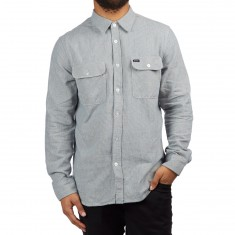 Brixton Bowery Longsleeve Shirt - Light Blue/White