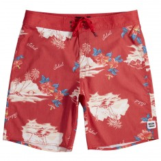 Brixton Barge Boardshorts - Red/Cream