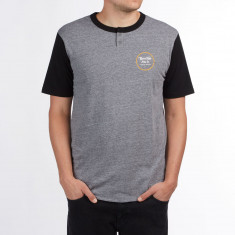 Brixton Wheeler Henley Shirt - Heather Grey/Black