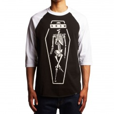 KR3W Skeleton Kr3w 3/4 Sleeve Raglan Shirt - Black/White