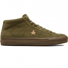 Converse One Star Pro Mid Shoes - Medium Olive/Light Fawn Suede