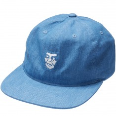 Obey Creeper Face 6 Panel Hat - Light Denim