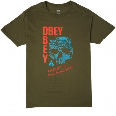 Obey Ghosts In The Machine T-Shirt - Military Olive