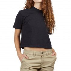 Obey Womens Mock Neck Cropped T-Shirt - Off Black