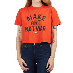 Obey Womens Make Art Not War T-Shirt - Bright Orange