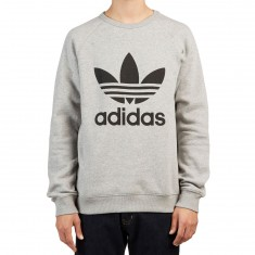 Adidas Trefoil Crewneck Sweatshirt - Grey Heather/Black