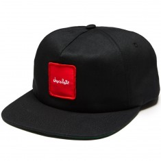 Chocolate Red Square Patch 5 Panel Snapback Hat - Black