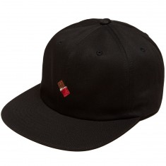 Chocolate Emoji 6 Panel Strapback Hat - Black