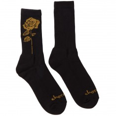 Chocolate Golden Rose Socks - Black