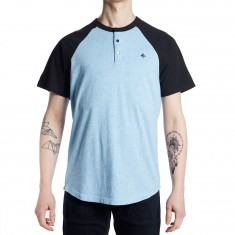 LRG Dusted Short Sleeve Henley Shirt - Dusk Blue Heather