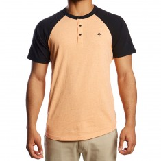 LRG Dusted Short Sleeve Henley Shirt - Orange Dusk Heather