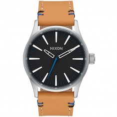 Nixon Sentry 38 Leather Watch - Black/Natural