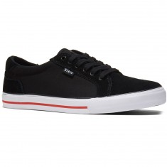 State Hudson Shoes - Black/White/Red Suede