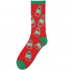 40s And Shorties Holiday Scribble Bottle Socks - Red/Green