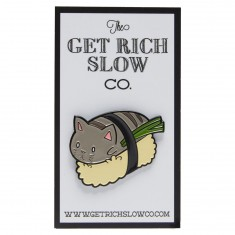 Get Rich Slow Sushi Cat Pin - Grey