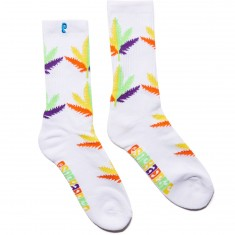 Psockadelic Huh Socks - White/Rainbow