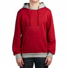Antler And Woods Hawethorne Two Tone Hoodie - Maroon/Grey
