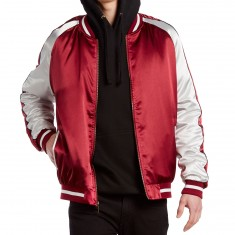 Standard Issue Solid Color Block Jacket - Burgundy/White