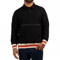 Pas De Mer Wrong Place Polo Sweatshirt - Black/Natural/Orange