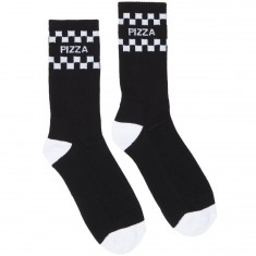Pizza Check Socks - Black