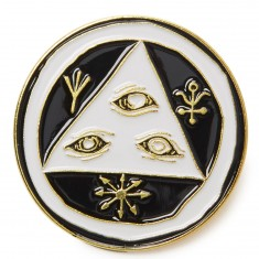 "Welcome 1.25"" Talisman Lapel Pin - White/Black"