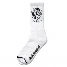 40s And Shorties Drunk Cat Socks - White