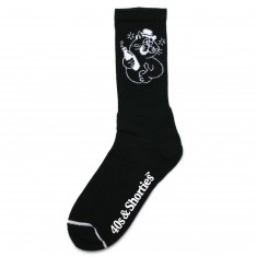 40s And Shorties Drunk Cat Socks - Black