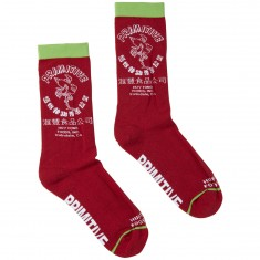 Primitive X Huy Fong Foods Bottle Crew Socks - Heather Red