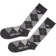Benny Gold Argyle Socks - Steel