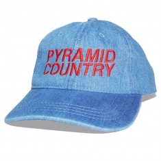 Pyramid Country Denim Man Hat - Denim/Blood Red